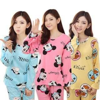 (154)Female Silk Thin Pyjamas Long Sleeve Sleepwear Cartoon Cute Nightwear Pajamas