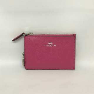 Coach Mini Skinny ID Case Magenta Crossgrain Leather size 11x8 With key ring