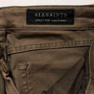 ALL SAINTS Women Army Green Cotton Blend Jegging Pants Stilt - Size 25 W