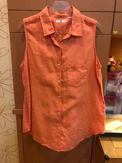 uniqlo sleeveless salmon blouse