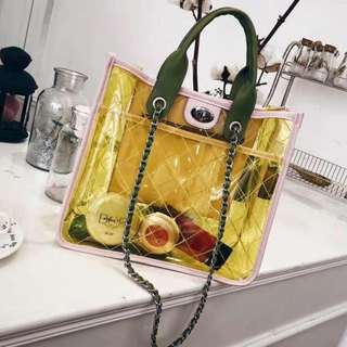 Korean PVC Transparent Bag in Yellow (Big Size)