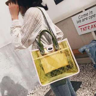 Korean PVC Transparent Bag in Yellow (Small Size)