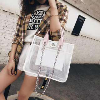 Korean PVC Transparent Bag in Black  (Small and Big Size Available)