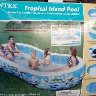 Repriced!! Intex tropical island inflatable pool with comfort seats and spray