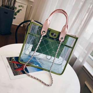 Korean PVC Transparent Bag in Green (Small and Big Size Available)