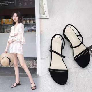 Two Way Suede Black Sandals