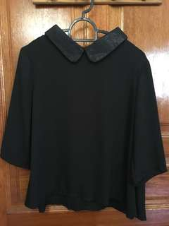 Chiffon Collar Black Top