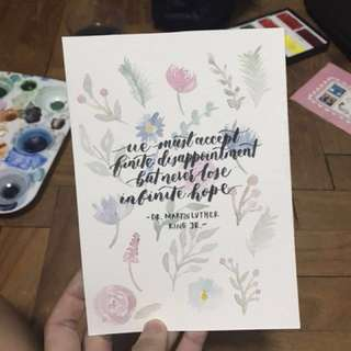 Watercolour Quote Calligraphy Card