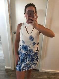 Blue floral formal dress