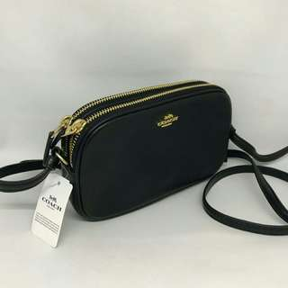 Coach Double Zip Crossbody Black sz 19x12