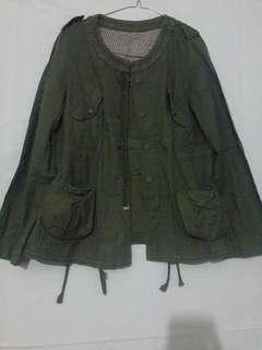 Jaket cargo import hijau army