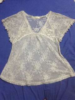 Off white See-through Lace Boho Top