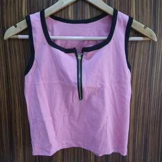 Pink sando cropped top