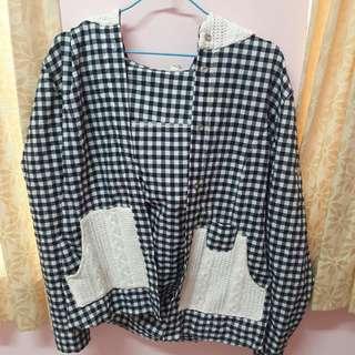 🚚 韓國製格紋針織口袋襯衫