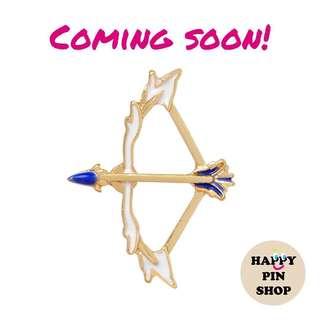 Fairy Archery Bow & Arrow Enamel Brooch Badge Pin