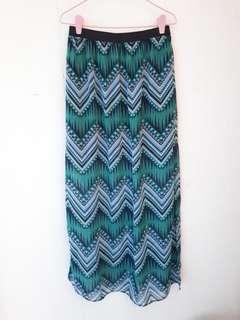 Long Green Patterned Skirt