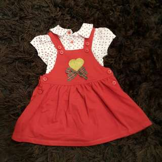 Overall red polkadot