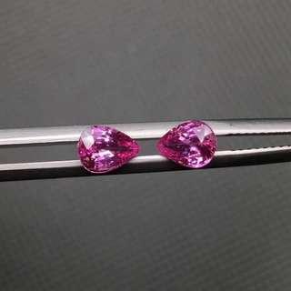 國際證書斯里蘭卡直送1.62卡一對粉紅寶藍寶石裸石天然💎可鑲耳環珠寶18k白金生日禮物