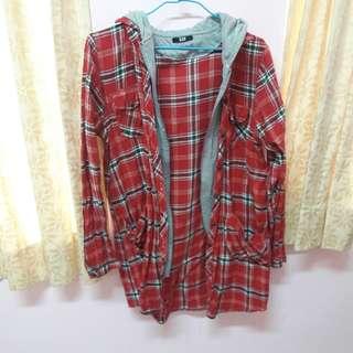 🚚 紅色格紋兩件式外套襯衫#畢業100元出清