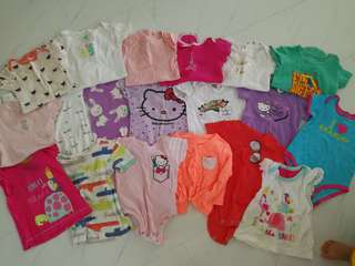 Used baby girl clothes onesies shirts bundle
