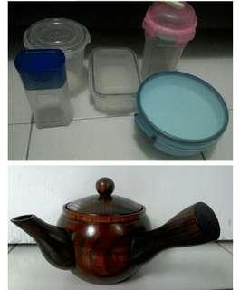 Perabotan Plastik dan Teko Kayu Antik.Harga Borong