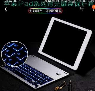 全新iPad Pro12.9吋二代保護套(黑色)藍牙鍵盤(銀色)背光鍵