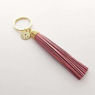 """KC022- Pink Tassel - Personalized Keychain Modern Stylish Leather Tassel Hand Stamp Name Disc Keychain High quality Gold Plated with Max 9 Alphabets - ALL Alphabet Are Capital Letters Only - Made To Order - """"❤️""""+""""NAME"""""""