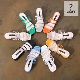 🚚 Korea 👡 正韓氣質優雅透明橫條時尚拖鞋