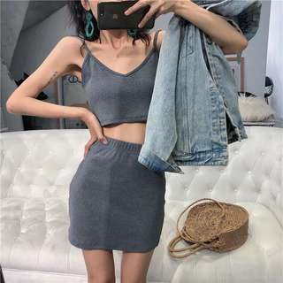 INSTOCKS Crop Top + bodycon skirt two piece set - grey
