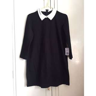 F21 white Collared Black Dress
