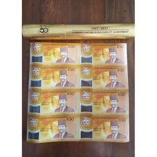 Brunei $50 Notes 8 in 1 Uncut