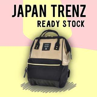 (READY STOCK) Anello Nylon Backpack (AT-B1491-Black Beige)