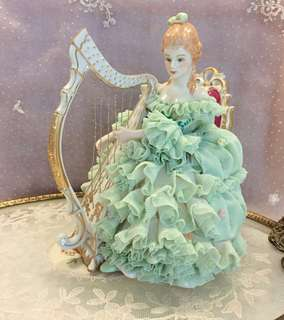 Vintage Dresden lace harpist figurine - handpainted & crafted