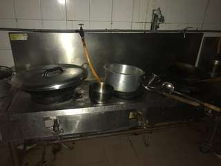 Burner 3+2 hole, stainless steel sink + tempat lauk campur