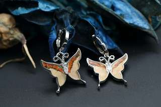 Navia Jewelry Real Butterfly Wing Delias anjae Silver Earrings Korea