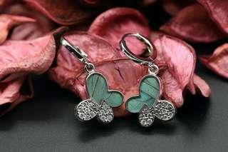Navia Jewelry Real Butterfly Wing Doxocopa cherubina Silver Earrings Korea