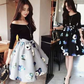 Black Top Grey Skirt- Whole Set