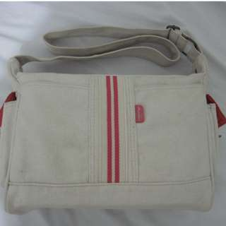 school bag red and cream
