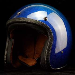 Blue Glitter Motorcycle Helmet Open Face Three Button Snap Retro Vintage Vespa Scooter Cafe Racer Motorbike Leather Gloss Old School Harley Davidson