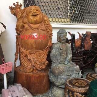百年木雕笑佛