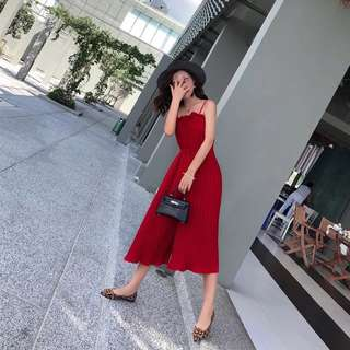 Minimei追加款✪韓系韓版百搭休閒 夏季吊帶連體褲百褶顯瘦雪紡闊腿褲