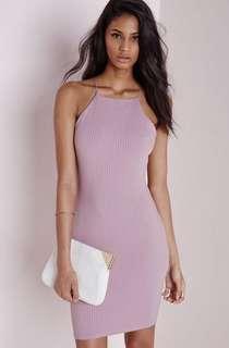 Mauve Ribbed Bodycon Dress