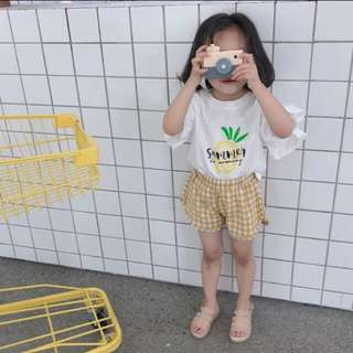 小飛袖棉麻短袖鳳梨T恤