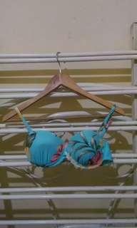 Blue Floral Push Up Bikini