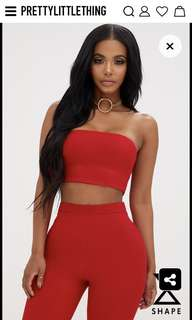 Shape Red Bandeau Crop Top in Red