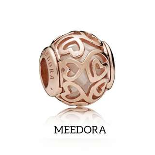 ROSE HEARTS FILIGREE ROSE GOLD CHARM PANDORA