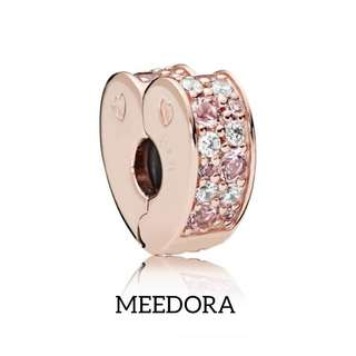 ROSE PINK ARCS OF LOVE CLIP ROSE GOLD PANDORA