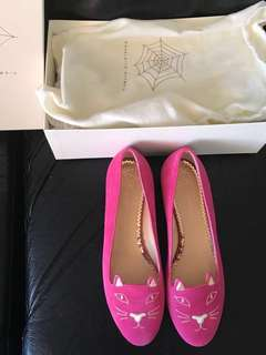 BNIB Auth Charlotte Olympia Kitty Flats 36 6 Pink Suede