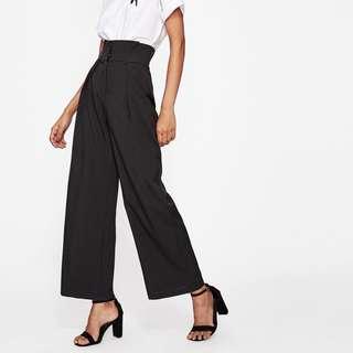 Wide leg high waisted black pants