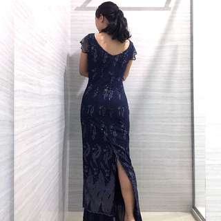 Elegant Navy Blue Party Prom Long Dress